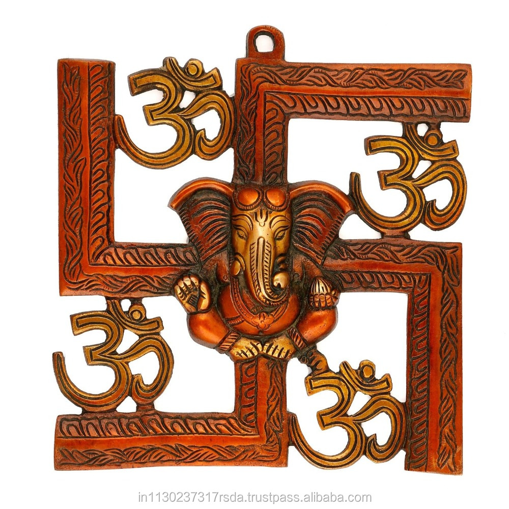 OM Ganesha On Swastik Sign Wall Hanging Religious Brass Ganpati Sculpture Art Home Decor