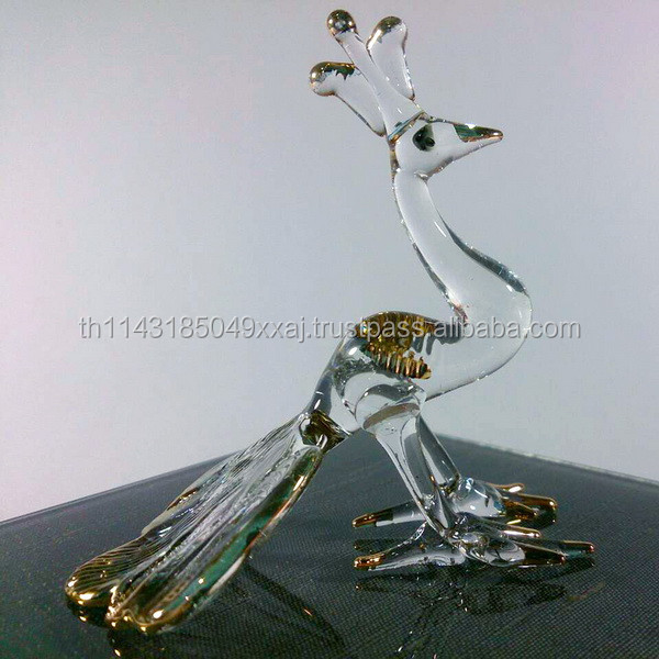 Crystal Peacock Hand Blown Clear Glass Art Gold Trim Figurines Home Decor / Bird animals Collection / Gift