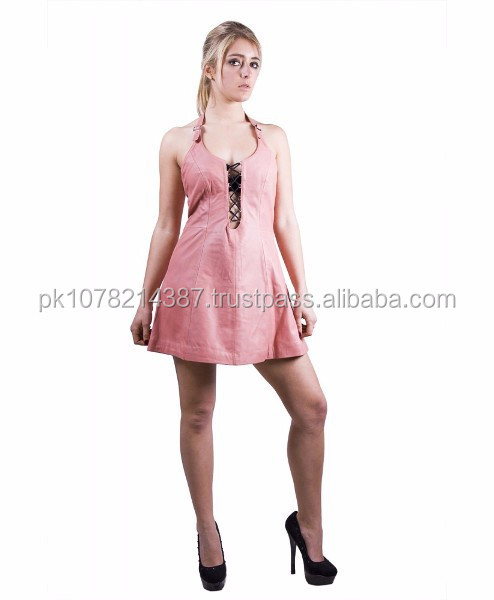 NEW 2015 BLACK BONDAGE PINK LEATHER WOMEN'S DRESS STYLE SOFT LEATHER MATERIAL