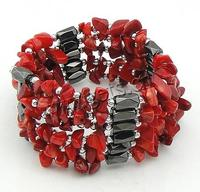 Magnetic Wrap Bracelet coral with Magnetic Hematite red 3-8mm Sold Per 36 Inch Strand