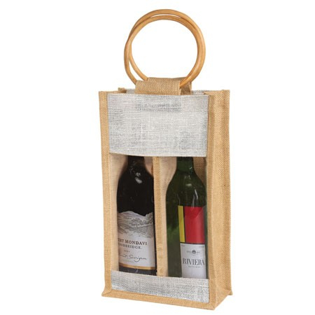 Eco-Friendly Two Wine Bottle Bag - features cane handles, plastic window and comes with your logo.