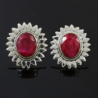 Ruby Stone Stud Earring Set 925 Sterling Silver Fashion Jewelry For Her 6.76 Gra