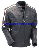 Vented Scooter Jacket with Dual Gun Pockets and Harley Racing Stripes Fashion Leather Jacket Motorcycle Leather Jacket
