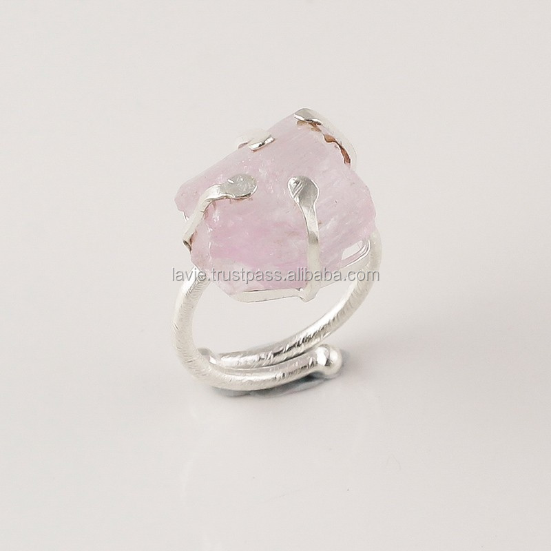 925 Sterling Silver Ring, Natural Rough Kunzite Gemstone Jewelry, Jewelry Showroom
