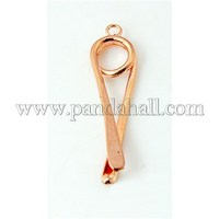 Brass Pinch Bails, Ice Pick, Nickel Free, Hot Pepper, Rose Gold, 34x9x5mm, Hole: 2mm KK-A062-RG-NF
