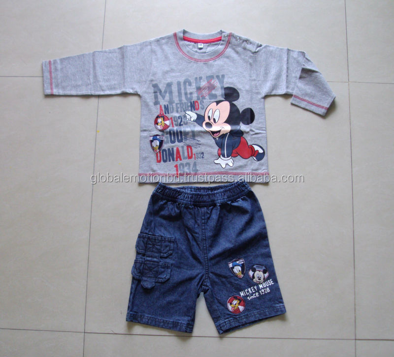 children denim and knit mix Clothing set , fashionable cute design nice printed kids pajama set