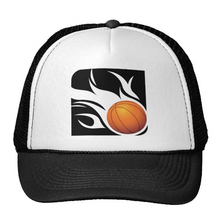 Flaming basketball black and white cap