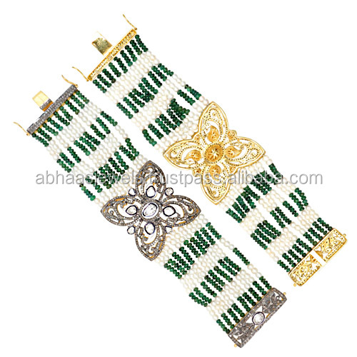Emerald Rose Cut Diamond floral, 14k Gold Pearl Beads, Silver Gemstone Beads Tennis Bracelet Wholesale Beads