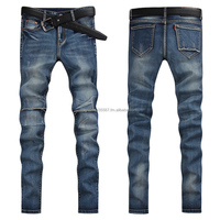 2015 spring cotton comfortable fabrics slim personality hole design stretch pencil men's trousers Anti-pilling & anti-wrinkle