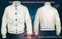branded bomber white Women fashion jacket pure leather