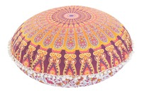 Indian Floor Throw Pillows with Insert Ombre Mandala Tapestry Round Pouf Cushion