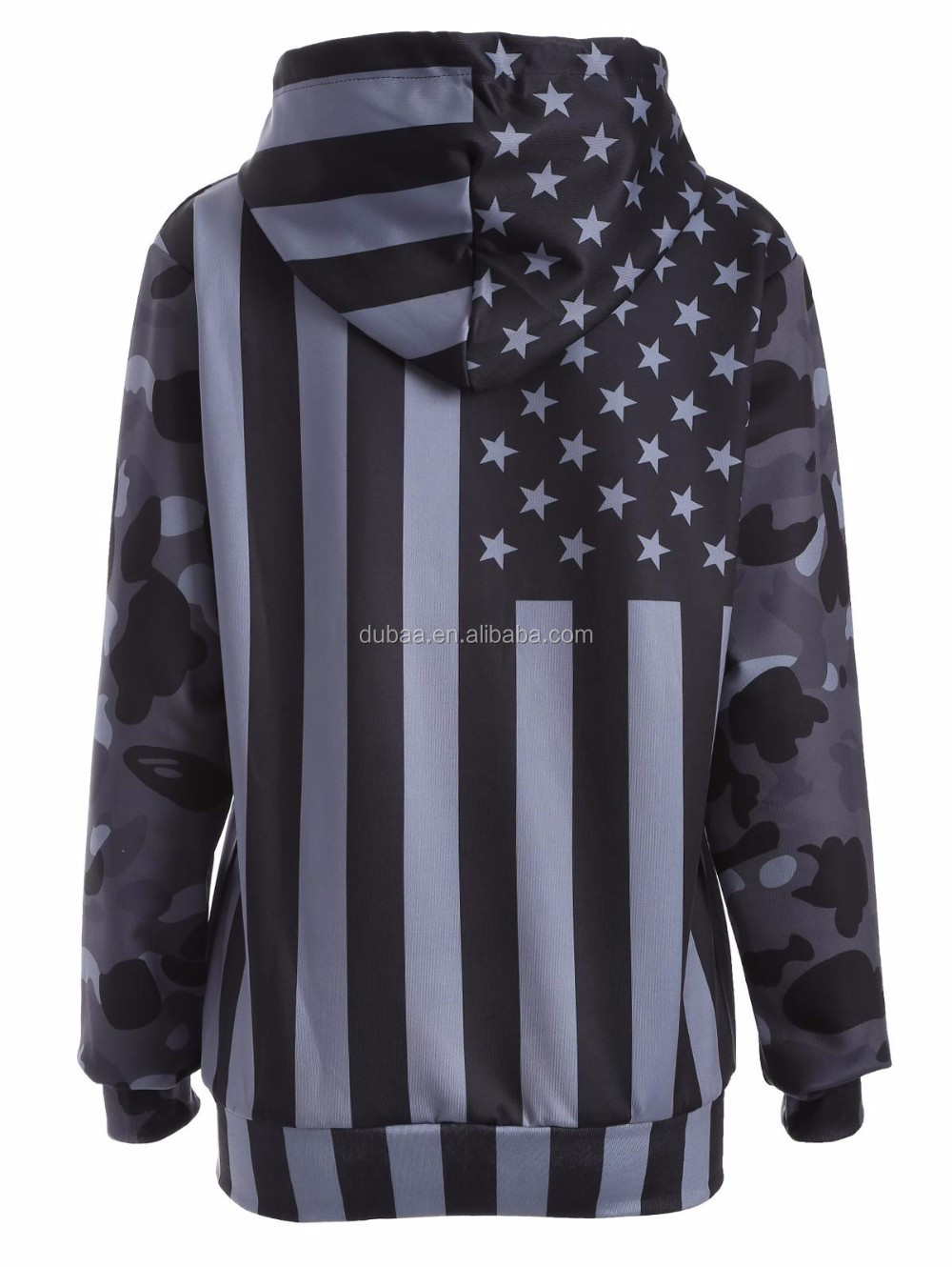 Unisex Fashion USA American Flag Print Hooded Slim Pullover Hoodie Sweatshirt
