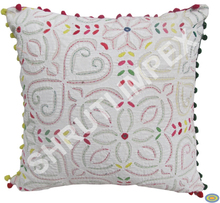 HANDMADE VINTAGE BEAUTIFUL TRADITIONAL INDIAN HAND EMBROIDERY APPLIQUE PATCH WORK COTTON CUSHION COVER GOOD FOR HOME DECOR SI36
