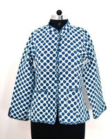 New Collection Cotton Quilted Reversible Jacket Indigo Print Winter Women Coat