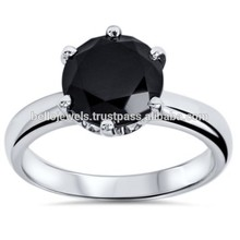 diamante nero 5ct 925 solitario anello di pietra in india