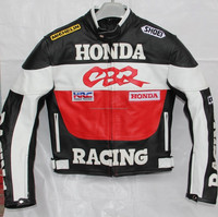 Mens Honda CBR Racing Motorcycle Biker Leather Jacket Safety Padding