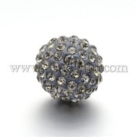 Round Rhinestone Clay Pave Bell Beads, with Brass Findings, No Hole, Black Diamond, 17mm RB-D290-08