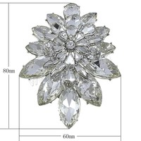 Crystal Brooch Zinc Alloy with Crystal Flower platinum color plated can be used as brooch or pendant & faceted & with rhineston