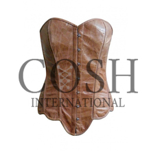 Overbust Steel Boned Beige Brown High Quality Leather Corset Ci-1202