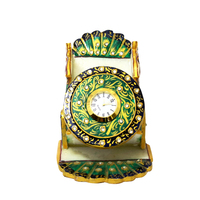 Green Peacock Leaf Marble with Meenakari Mobile Stand with Clock