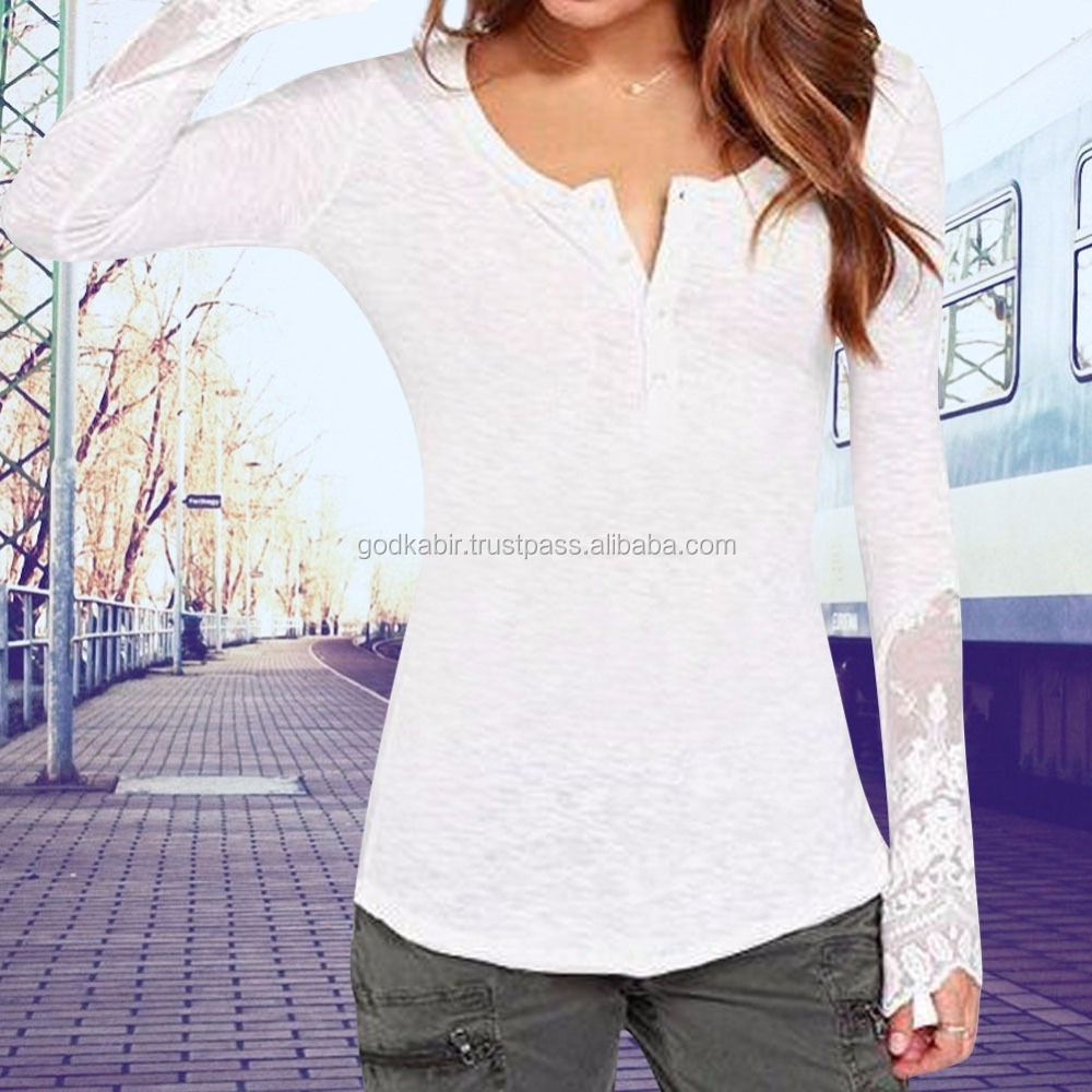 Sexy Women Long Sleeve Slim fancy handmade Embroidery Lace Crochet Tee Shirt Tops Blouse White