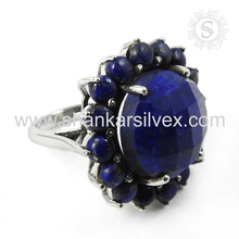 Perfect Design 925 Sterling Silver Lapis Ring Jewelry Jaipur Wholesale Indian Silver Jewellery Online