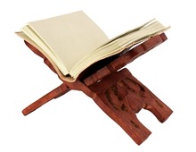 Hand Carved Wooden Folding Book Stand Holder with Intricate Carvings