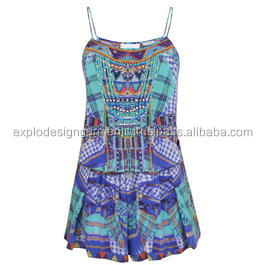 women playsuit sleeveless digital printed deep V jumpsuits for women 2017 sexy