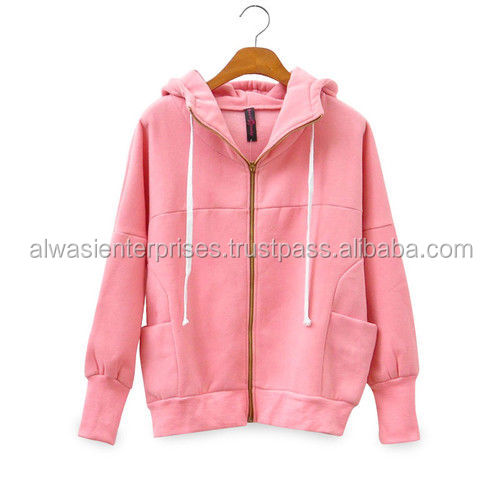 Ladies Color Supreme Fleece Hoodie Long Sleeves 320Gsm 80% Cotton 20% Polyester / Sweatshirt