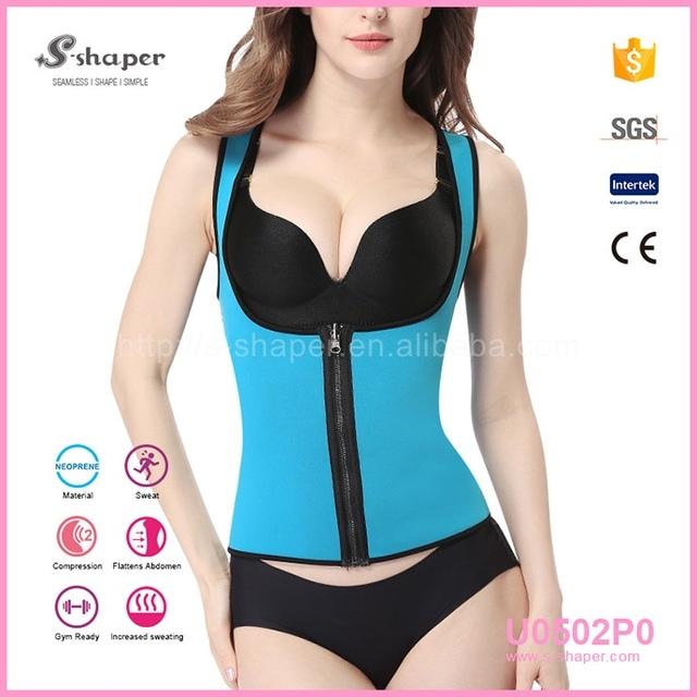 Cheap Blue Neoprene Breast Body Shaper Bra Neoprene Slimming Vest For Women