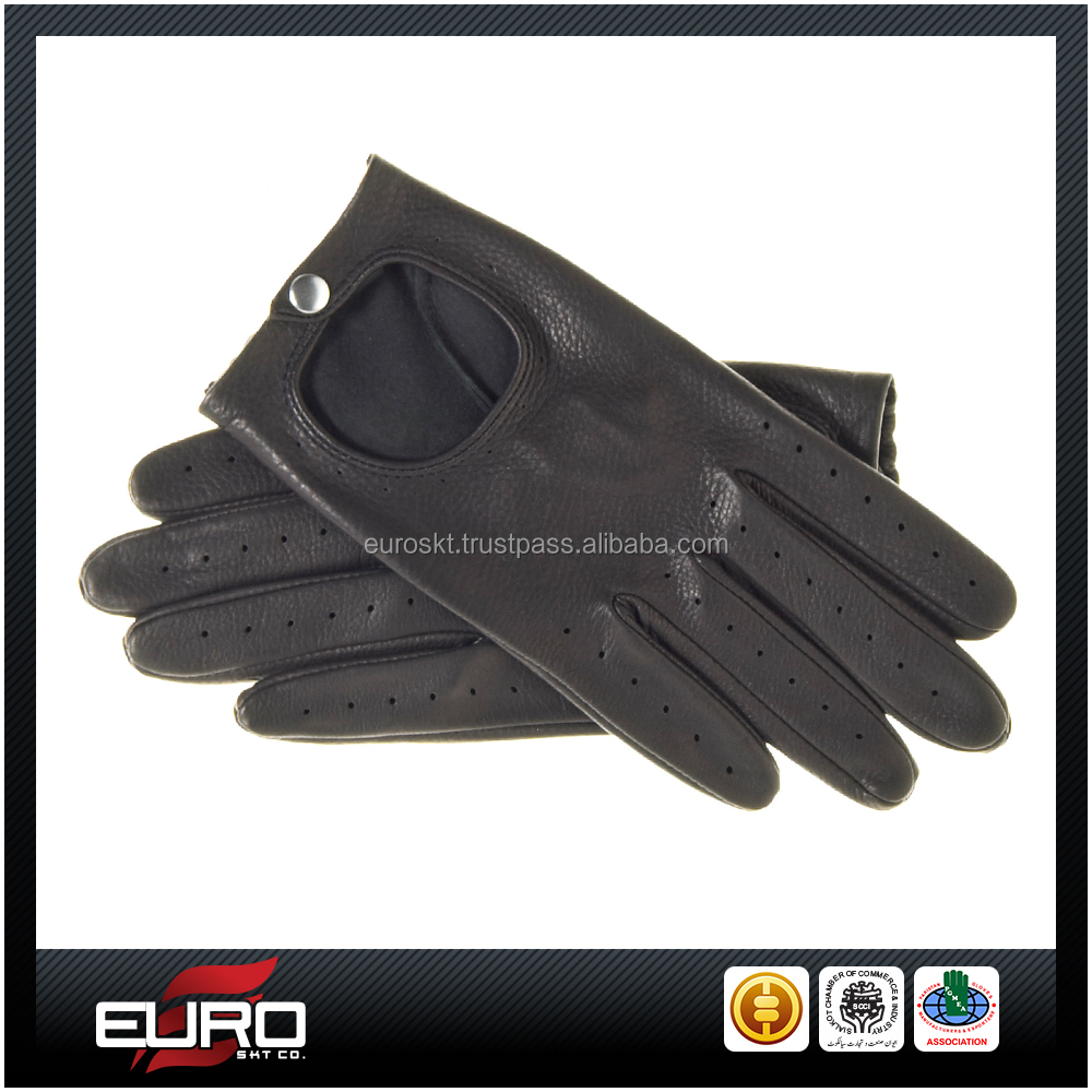 Black Lamb Nappa Leather Touch Screen Driving Gloves