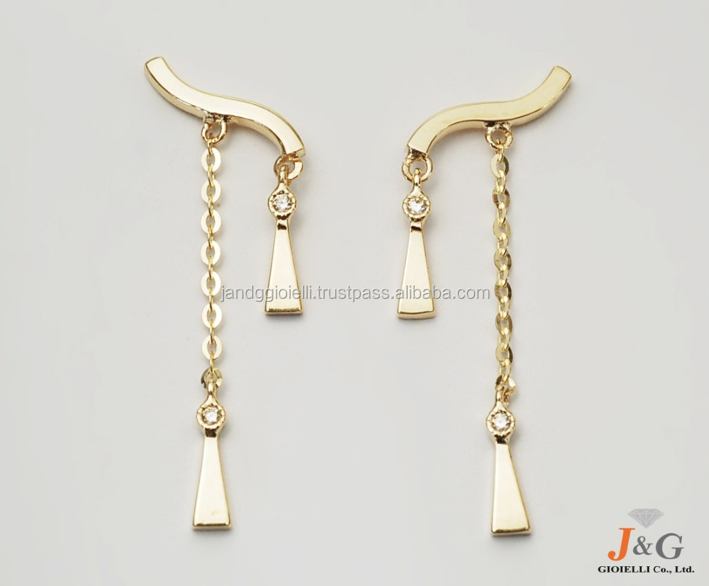 9K, 10K, 14K, 18K Yellow gold & CZ design jewelry earrings in South Korea