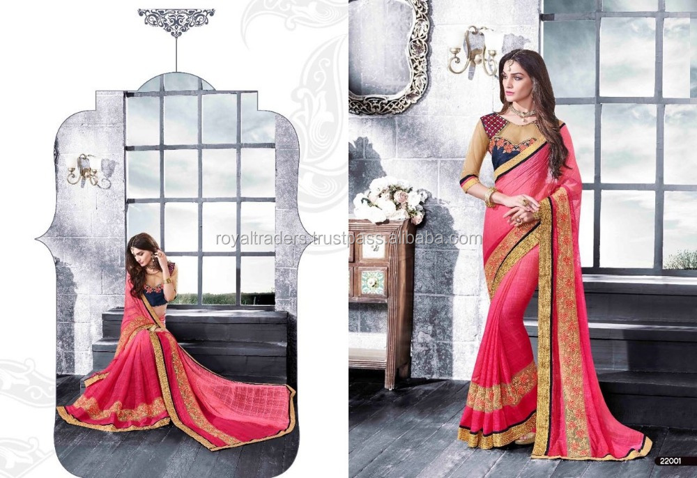 Awesome Multi Colour Saree With Fancy Embroidery Work Blouse
