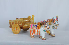 PD Craft Wooden Bullock cart Show piece & Gift