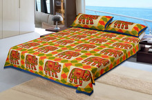 rajasthani hand made elephant hand block print 2 pillow covers 1 double Flat bedsheet