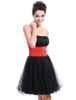 Cute Strapless Black Rhinestones Organza Cocktail Dress HE03214 Mix Wholesale