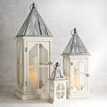 White Wooden Lantern, Garden Decorative Wooden Lantern Set of 3