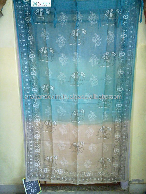 Blue and white curtains in linen Fine quality japanese style Noren curtains