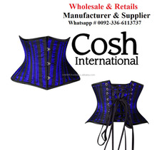COSH INTERNATIONAL : Ci-8079 Blue Striped Satin Extreme Waist Cincher Corset Supplier