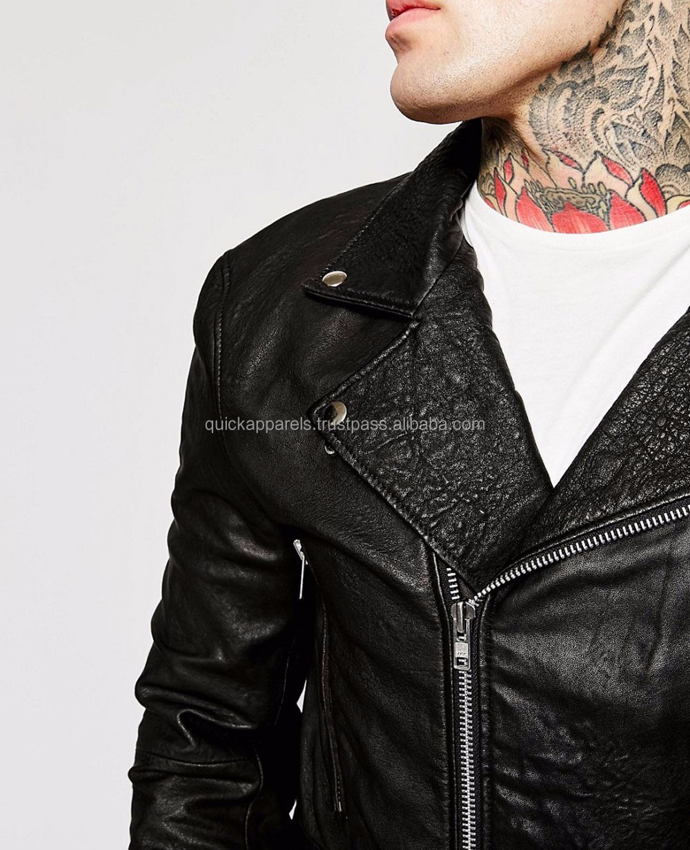 Wholesale Custom Brand Names Market Men's Motorbike Leather Jacket