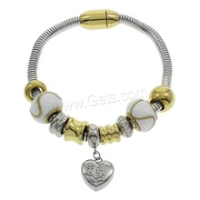 Stainless Steel Bracelets logo engrave charm snake chain bracelet with gold plated beads clasp charms