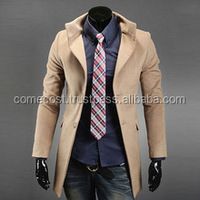 Men Autumn Winter Fashion New Style Long Sleeve Solid Long Jacket, Men's Casual Coat