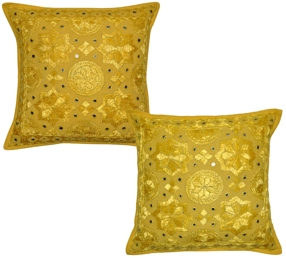 Unique Indian Cotton Cushion Cover, Embroidery Mirror Work Cushion Cover ( Retailer )