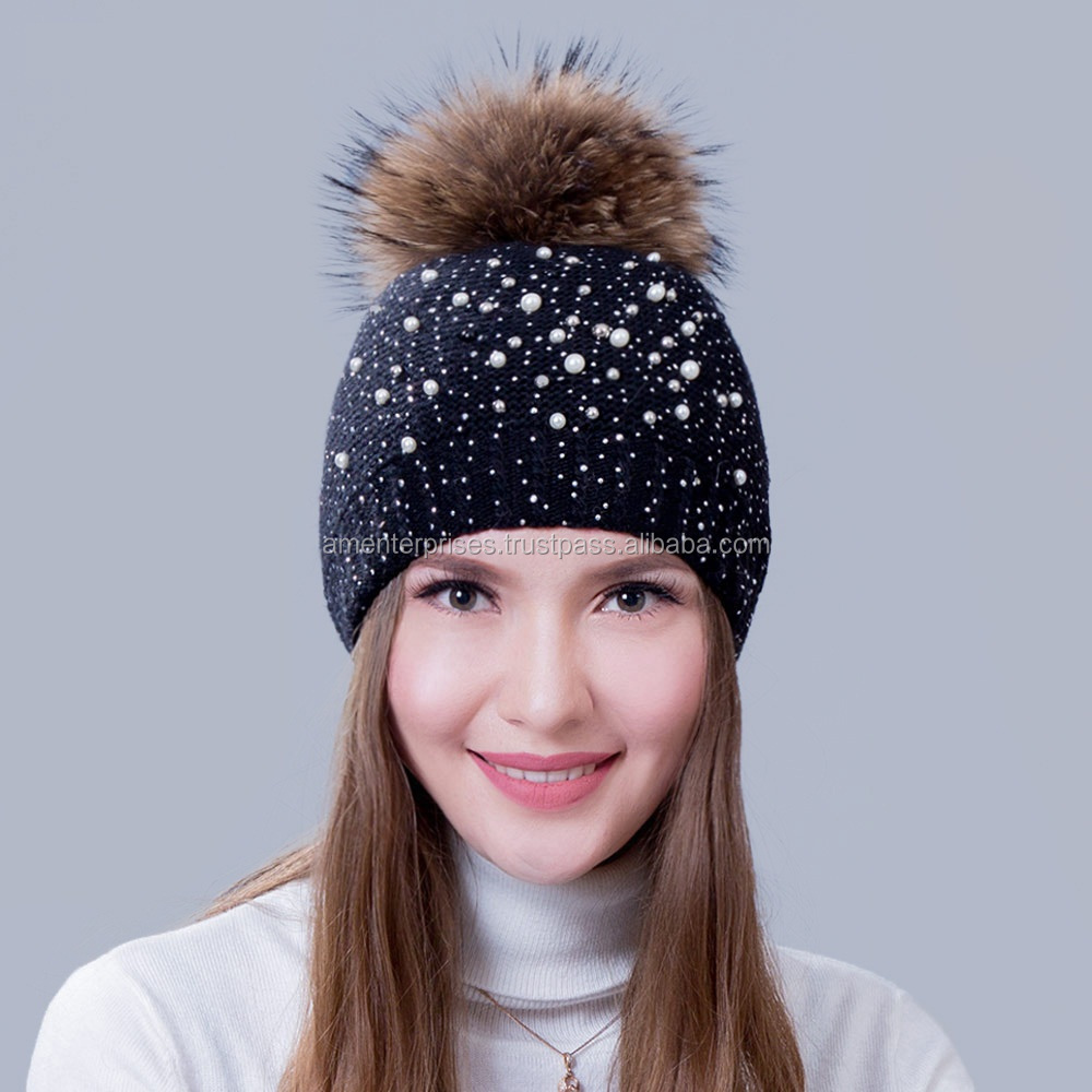 2016 New Fashion Bi-colour Winter Beanie Hats Fur Bobble Hats