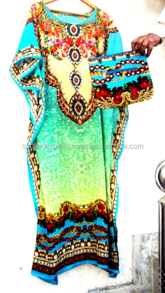 New fancy digitally printed Kaftan beachwear with matching purse handbag tunic tops printed kurtis embellished coverups dresses