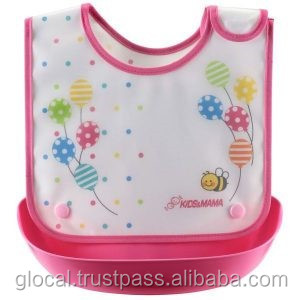 Japan Baby Bib Dining Apron with Food Catching Pocket Pink Wholesale
