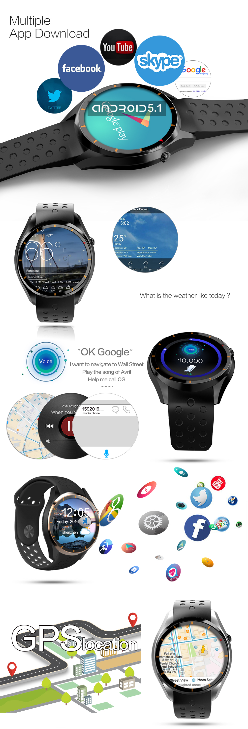 MTK6580 Android 5.1 3G/WIFI/GPS smart watch with heart rate support Adroid&IOS smart phone