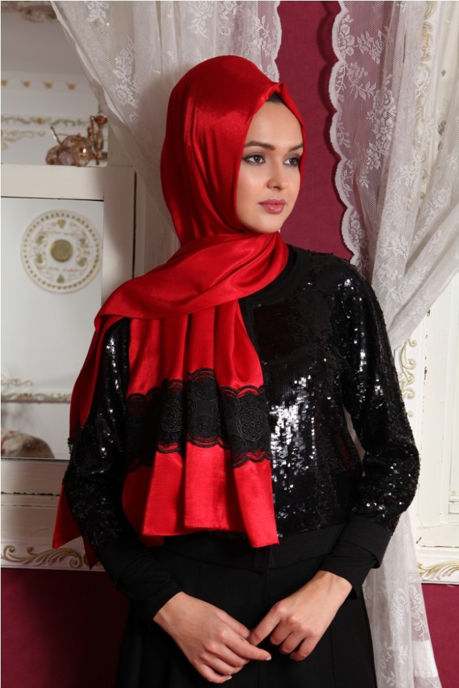 2015 New Style Exclusive High End Silk Looking Laced Hijab shawl 1072