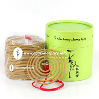 Nhang Thien - Beautiful shape coil incense made from grade A agarwood powder, woody scent, long time burning