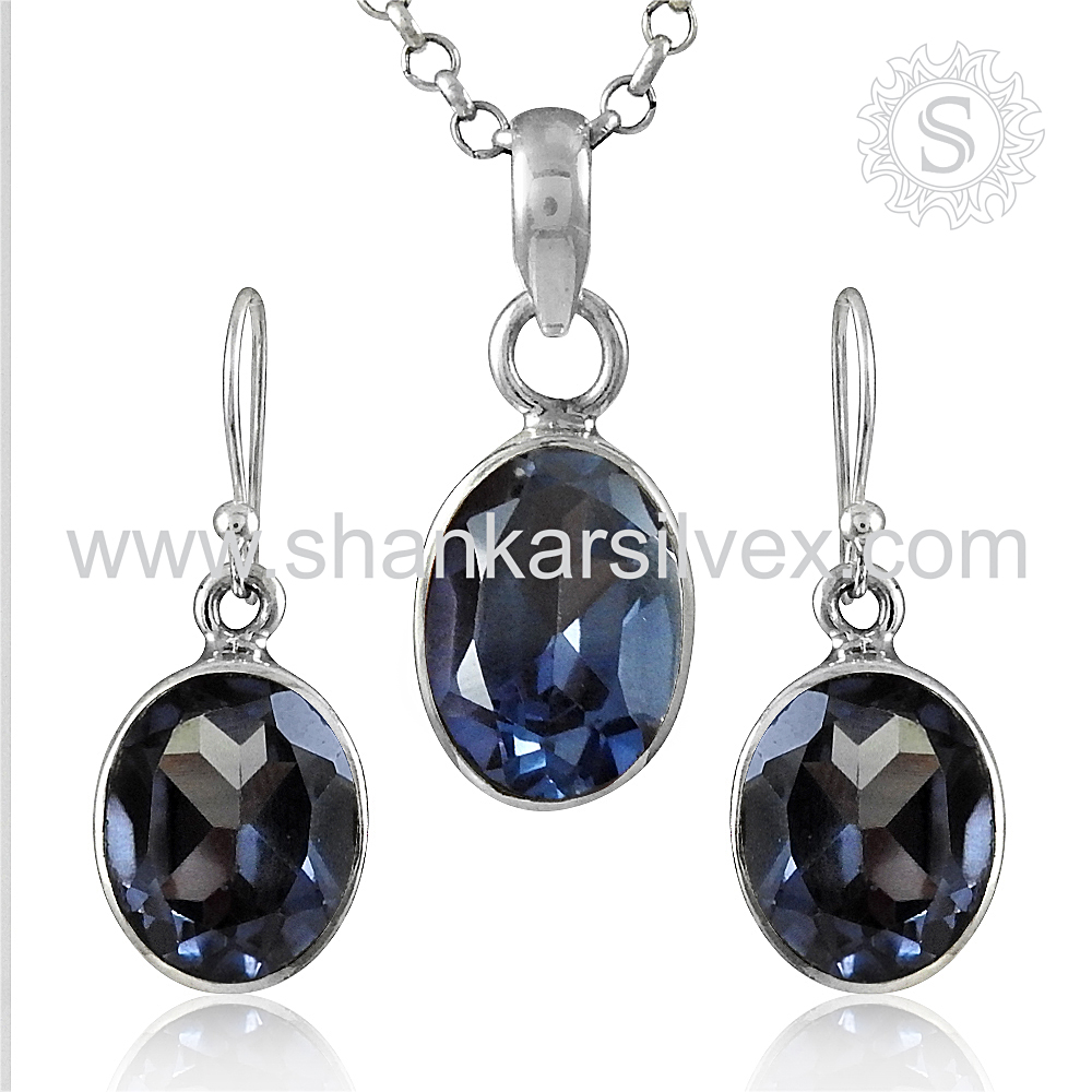 Shining Alexandrite Gemstone Jewelry Set Wholesaler 925 Silver Jewelry Indian Silver Jewelry Exporter